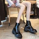 前拉錬馬丁靴女英倫風秋冬款厚底加絨高跟帥氣機車短靴ins潮 金曼麗莎