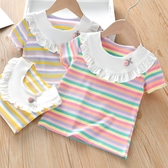 女童T恤 2020新款女童夏裝T恤可愛女木耳邊條紋短袖上衣兒童休閒t恤衫【快速出貨】