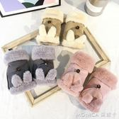 冬季手套女韓版可愛耳朵加絨加厚保暖半指手套麂皮絨漏指學生寫字 莫妮卡小屋