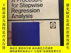 二手書博民逛書店A罕見Procedure for Stepwise Regres