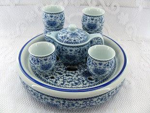 配有雙層茶盤 青花洋蓮