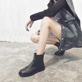 短靴 短靴女潮帥氣馬丁靴子女英倫風新款百搭瘦瘦切爾西靴黑色「艾瑞斯居家生活」