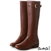 amai皮帶扣飾點綴質感長靴 咖
