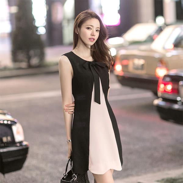 洋裝 韓版 拼色遮肚子顯瘦中長款雪紡小黑裙 小禮服