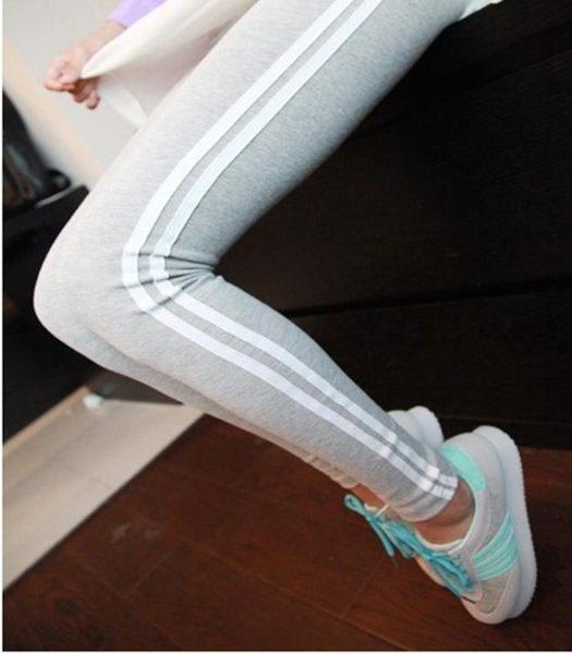 內搭褲 修身顯瘦側白邊打底褲休閒運動褲小腳九分鉛筆褲 巴黎春天
