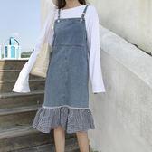 復古風小格子荷葉下擺拼接牛仔裙女韓版吊帶裙連身裙    琉璃美衣
