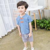 唐裝套裝男童 男童中國民族風棉麻唐裝寶寶周歲古裝衣服夏裝漢服兒童套裝 米蘭街頭