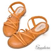 訂製鞋 交叉線條軟底涼鞋-棕色下單區
