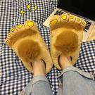 ins創意卡通搞怪大腳丫毛絨棉拖鞋女冬季情侶保暖棉鞋個性居家鞋 - 歐美韓熱銷