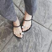 夾腳拖鞋歐美一字帶套趾水鉆涼拖鉆石夾腳平跟【不二雜貨】