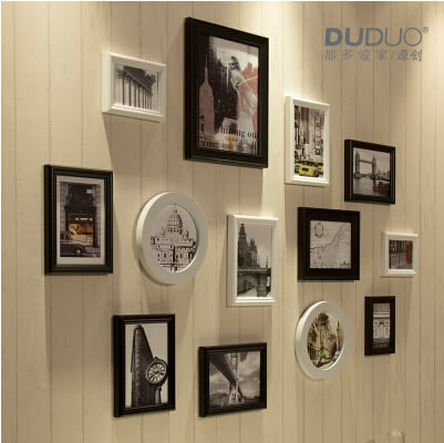 原創歐式 實木照片牆 相片相框牆組合13框臥室客廳 黑白