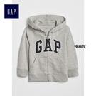 Gap男嬰幼童 LOGO基本款拉鏈連帽長袖休閒上衣 375501-淺麻灰