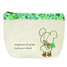 【日本進口正版】小熊學校 幸運草 刺繡 船型 化妝包 收納包 筆袋 The Bears' School - 099648