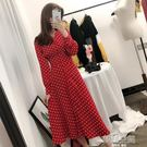 瞌睡兔中裙法式復古波點長袖紅色洋裝女秋裝...