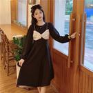 大碼長袖洋裝 連身裙 禮服長袖氣質溫柔顯瘦減齡中長款連身裙2F041-C胖妹