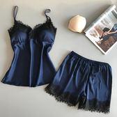 全館8折上折明天結束蕾絲款睡衣女夏套裝情趣兩件套冰絲性感夏天蕾絲吊帶夏季絲綢真絲帶胸墊