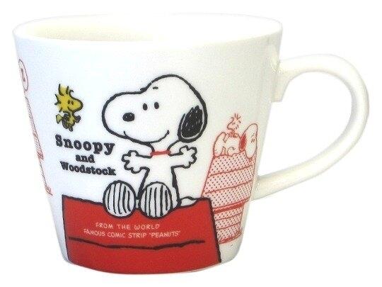 〔小禮堂〕Snoopy 史努比 日製陶瓷馬克杯《白.紅屋頂》經典系列 4964412-60332