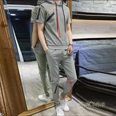 夏季網紅社會小伙短袖男T恤套裝潮流韓版帥氣修身休閒衛衣兩件套 「時尚彩虹屋」