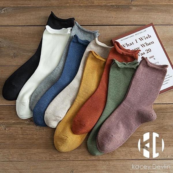 襪子女中筒卷邊堆堆襪春秋款春夏日系秋冬棉襪長襪【Kacey Devlin】
