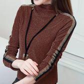 加絨打底衫女長袖秋冬季新品百搭網紗高領加厚保暖蕾絲衫上衣 生日禮物