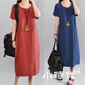 棉麻洋裝-夏裝短袖寬鬆大碼中長裙子亞麻文藝顯瘦棉麻連身裙女 603-188