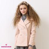 【SHOWCASE】名媛羊毛刷毛雙排釦西裝大衣(粉/灰)