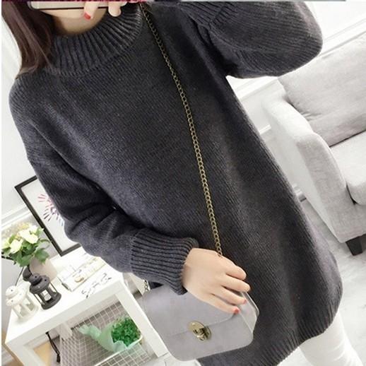 EASON SHOP(GU8391)純色反摺高領長版毛衣 混色 針織 長袖洋裝 連身裙 灰色
