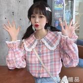 新款甜美娃娃領蕾絲長袖粉格子襯衫學生設計感小眾上衣女 可然精品