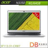 acer  Swift 1 SF113-31-C4W7 13.3吋 N3350 Win10 銀色筆電-送acer無線滑鼠(6期0利率)