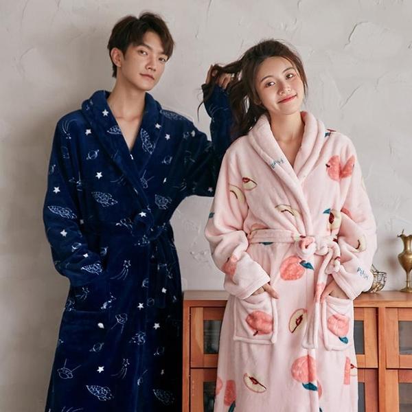 睡衣 情侶珊瑚絨睡袍女士秋冬季法蘭絨浴袍加絨加厚中長款男士浴衣睡衣 交換禮物