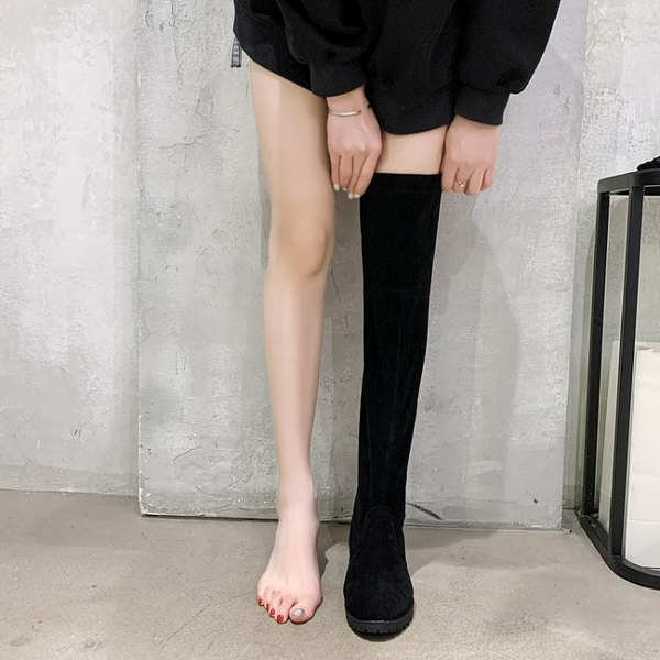 過膝長靴女2020秋冬新款百搭彈力長筒靴不掉筒粗跟英倫網紅瘦瘦靴 南風小鋪
