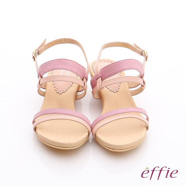 effie 個性涼夏 真皮雙條帶小坡跟涼鞋  粉