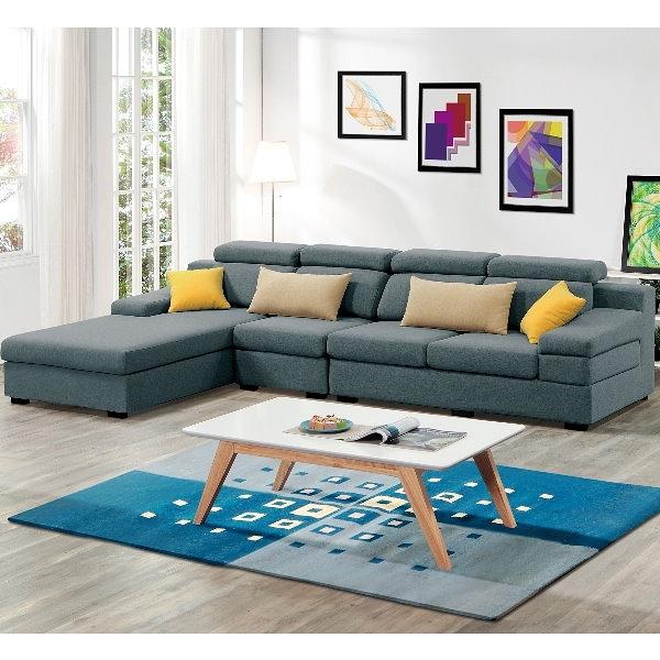 沙發 L型布沙發 QW-228-3 伊麻L型藍色布沙發【大眾家居舘】