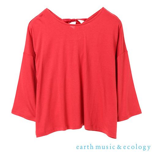「Hot item」 後綁帶素面落肩蝙蝠袖上衣 - earth music&ecology