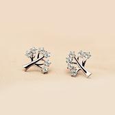 925純銀耳環(耳針式)-精緻甜美小樹生日情人節禮物女飾品73dr125【時尚巴黎】