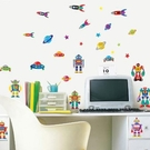 DIY時尚裝飾組合可移動壁貼 牆貼 壁貼 創意壁貼 卡通機器人 AY7023【YV0622】BO雜貨