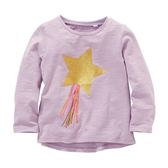 女Baby女童長袖T恤淡紫色可愛星星彩帶印花純棉上衣 出口歐美品質現貨
