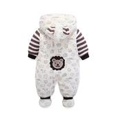 新生嬰兒連體衣服秋冬季寶寶女外出抱衣服男加厚保暖幼兒哈衣冬裝