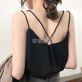春夏季網紅雪紡吊帶背心女外穿內搭新款雙層打底衫寬鬆無袖上衣潮 快速出貨