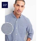 Gap男裝 舒適牛津紡彈力長袖襯衫 227655-藍色方格花布