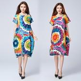 洋裝 連身裙 新款民族風女裝文藝印花連衣裙寬鬆中大尺碼中長款夏季休閒渡假長裙女