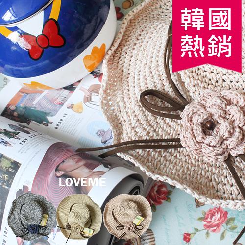 優雅 古典 花朵 裝飾 編織帽 防曬帽 小臉遮陽帽 編織帽 散熱
