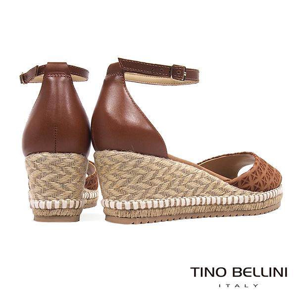 Tino Bellini 巴西進口幾何壓紋雙色麻編楔型魚口涼鞋 _ 棕 A83058 歐洲進口款