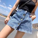 DE shop - 高腰牛仔短褲A字褲裙子- A-183