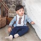 長袖連身衣 假兩件 條紋 領結 男寶寶 爬服 哈衣 小紳士 小花童 Augelute Baby 47151