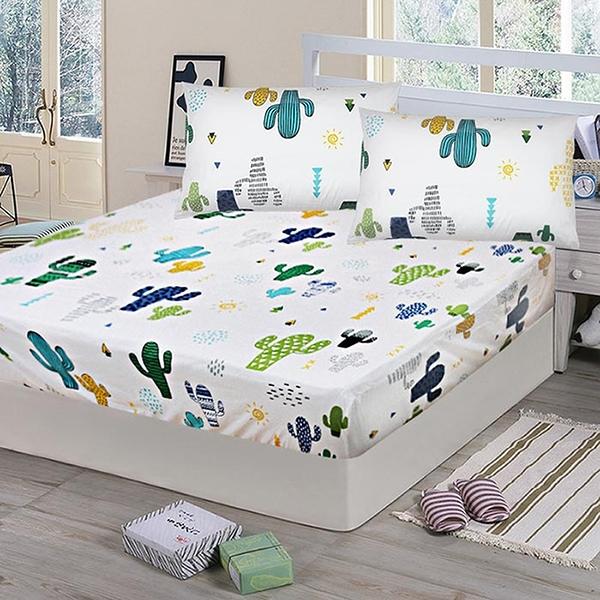 【Victoria】純棉單人床包+枕套二件組-仙人掌(白)_TRP多利寶