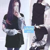 【V0326】shiny藍格子-可愛暖冬‧ 拼接可愛圖案袖刷毛中長款長袖上衣