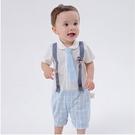 小紳士連身衣 假吊帶帥氣爬服夏日天藍格紋 假兩件連身衣 純棉爬衣 短袖哈衣 小鮮肉 LYT23