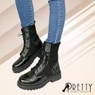 BA-20999 女款騎士靴 彈力針織拼接異材質綁帶個性軍靴/中筒靴【PRETTY】