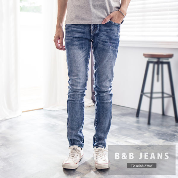 湛藍皮革造型牛仔褲